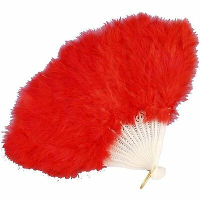 20'S Flapper Fancy Feather Hand Fan Red Roaring 20S Costume Accessory