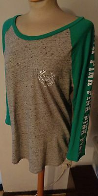 PINK Victoria's Secret Cotton T.shirt Top Grey Green  Size Large