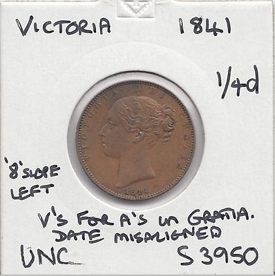 """1841 Victoria Farthing S33950 """"unc"""" With Errors See Description"""