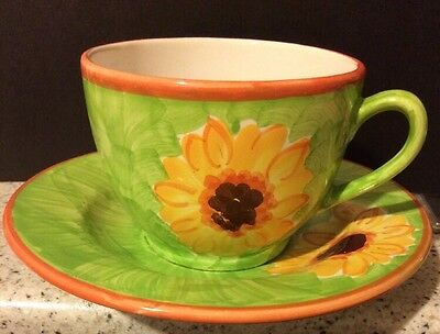 large cup and saucer Sunflower Design