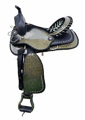 """Western Two Tone Printed Imitated Synthetic 16"""" Saddle With Spots 135216"""