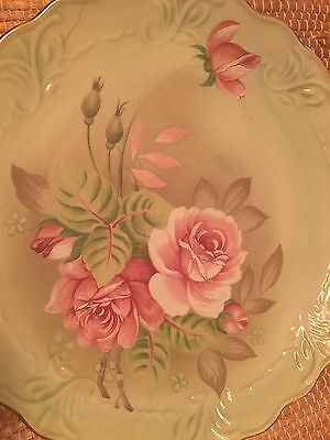 Lefton, China, Charger, Dish, 1984, Mint Green , Floral