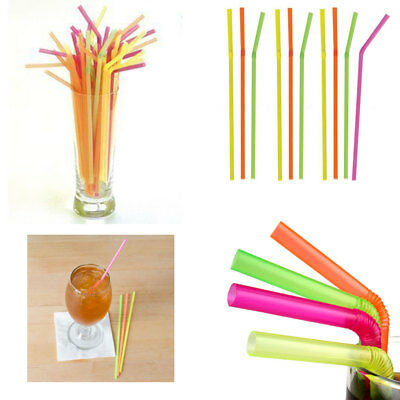 250 Neon Plastic Straws Bendy Flexible Drinking Party Wedding Smothies Home Bar