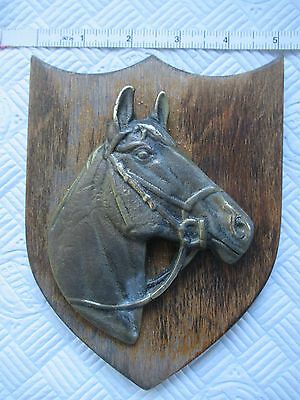 Brass Horse Head on Wooden Shield Wall Hanging Plaque