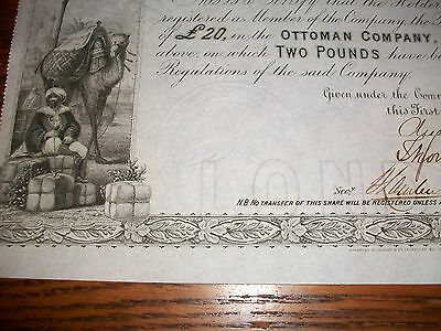 1865, SHARE CERTIFICATE: THE OTTOMAN COMPANY LIMITED. (Rare)