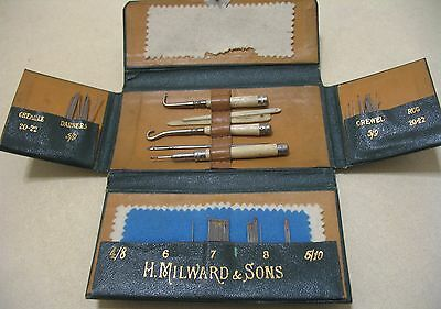 Antique H. MILWARD & SONS Sewing Kit Case With Bone Tools, Needles Etc