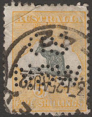 Australia 1918 Official Roo 5sh Grey and Yellow OS NSW Perf Used w creasing flts
