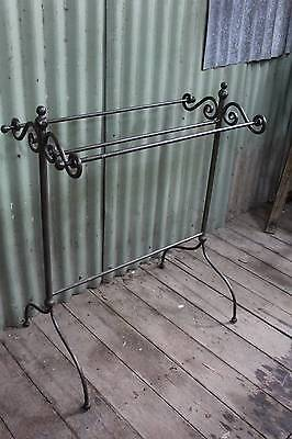 A Large Vintage Wrought Iron Towel Rack