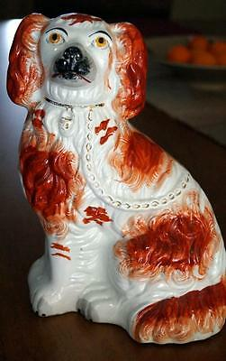 """Antique Large Single Red Staffordshire Dog 1870 ? 9 ¾"""" High  Good Condition"""