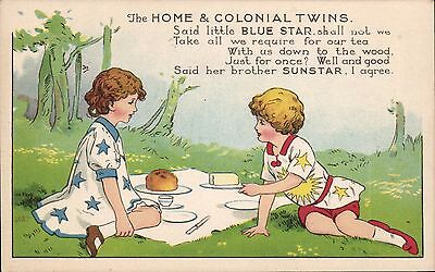 Advertising. Home & Colonial Teas. The Twins. Said Little Blue Star to Sunstar..