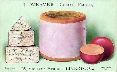 Advertising. J.Weaver, Cheese Factor, Liverpool. Card by A.Cooke, Leeds & London