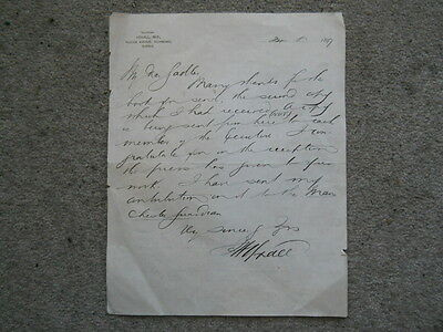 1897 Letter, Written and Signed by Sir James Yoxall MP