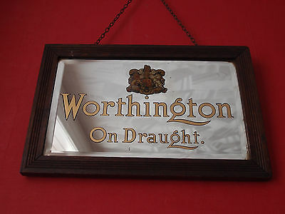 EARLY 1920s WORTHINGTON ON DRAUGHT PUB ADVERTISING MIRROR SIGN not bass 18x12ins
