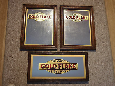 x3 EARLY 1920s WILLS GOLD FLAKE CIGARETTE TOBACCO ADVERTISING MIRRORS not BASS