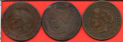 3 X 10 centimes CERES 1871 A -  1872 K - 1897