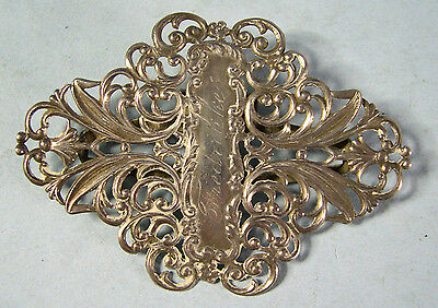 Antique Sterling Silver Ornate Lady's Belt buckle, 3 by 2.1 inches