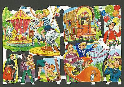 Mlp 1432 - Glittered Fairground Scenes Scraps - Mamelok Press Discontinued Sheet