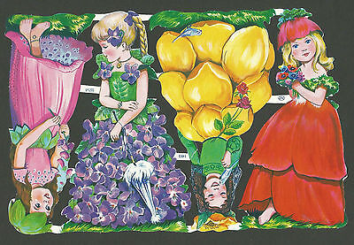 Mlp 1493 - Flower Girls - Scraps - Oblaten - Mamelok Press Discontinued Sheet