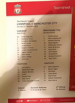 Liverpool v Manchester City Premier League 31 December 2016 Teamsheet