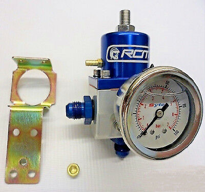 Blue RCM SX Fuel Pressure Regulator Kit With -6 Fittings And Sytec Fuel Gauge