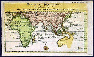 1760 Gebauers Antique Map of Australia, Pacific, East Indies, China, Middle East