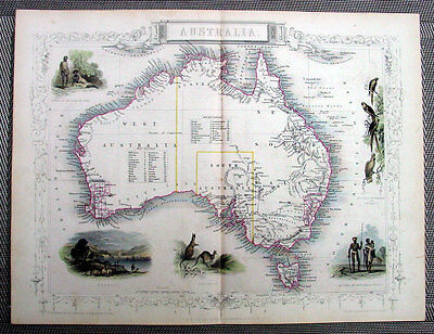 1851 Tallis Antique Maps of Australia and States - Total of 6 Maps