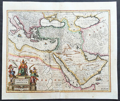 1638 Jansson Old, Antique Map of the Turkish Empire, Saudi Arabia, Middle East