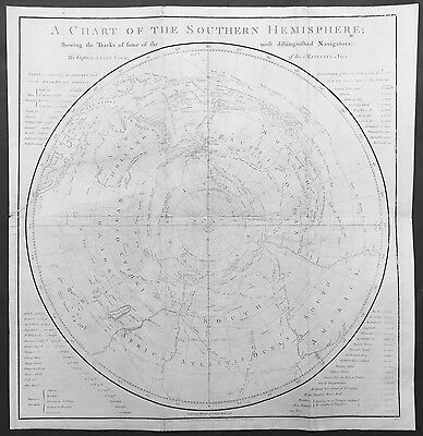 1776 Cook & Whitchurch Old, Antique 1st Ed. Southern Hemisphere Map - Australia