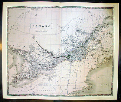 1843 Johnston Large Antique Map of Canada, St Lawrence River & The Great Lakes