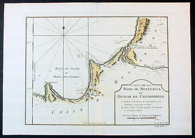 1747 Bellin Antique Map of the Benguela province of Angola, Africa