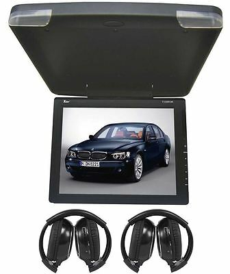 "TView T1508IR 15"" Black Slim Ceiling Flip Down Car Monitor + 2 Wireless Headsets"