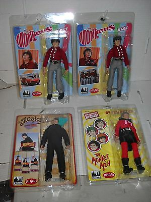"""THE MONKEES 8"""" action figures mixed outfits set of 4 Peter Davy Mike Mickey MISB"""