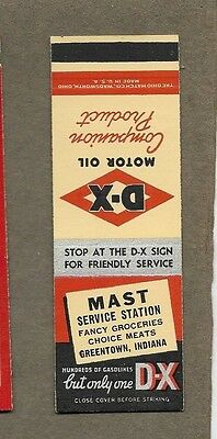 Mast Service Station Greentown Indiana Flat Matchcover A403