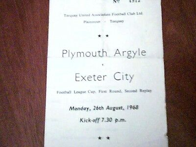 68/69 Plymouth Argyle V Exeter City Fl Cup 2Nd Replay @ Plainmoor 26/8/68
