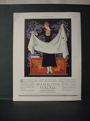 1924 Wamsutta Percale Sheets Pillow Cases Cottons Color Vintage Print Ad 11729