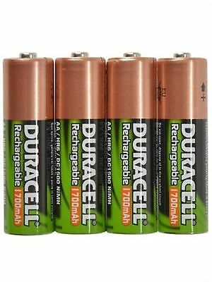 4 x AA 1700 mAh DURACELL RECHARGEABLE NiMH BATTERIES IN A FREE BATTERY CASE