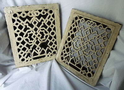 Antique Cast Iron Floor Grates PAIR Heat Register Surround Vent Cover SALVAGE**