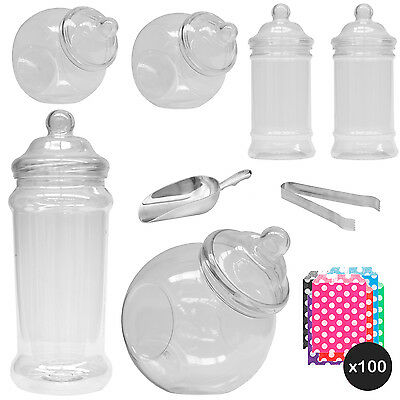 6x Jars Sweet Shop Candy Buffet Wedding Kids Party Kit Scoops+Tongs+Spotty Bags