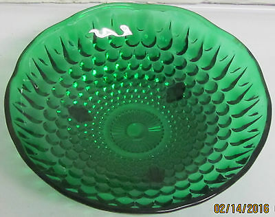 "Vintage Dark Forest Green Depression Glass Hobnail Footed Berry 6 3/8"" Bowl"