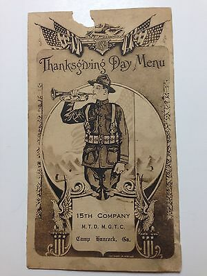 1918 WWI Thanksgiving Day Armistice Dinner Menu, 15th Co., Camp Hancock, GA