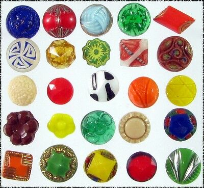 25 Assorted, Mostly Diminutive Size Glass Buttons, B