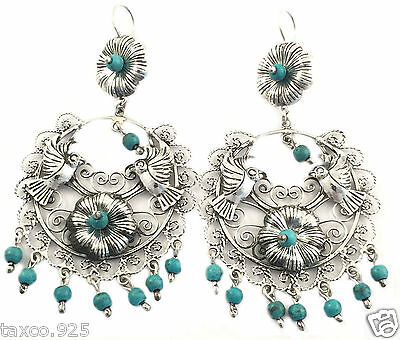 Taxco Mexican Sterling Silver Frida Kahlo Style Turquoise Deco Earrings Mexico
