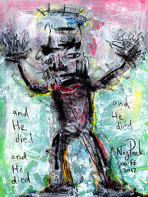 """NEZ PEEK Original Signed Drawing """"AND HE DIED"""" Outsider Folk ABSTRACT Brut ART"""