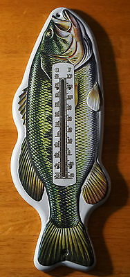 BASS FISH INDOOR OUTDOOR THERMOMETER Fishing Cabin Fisherman Lodge Decor NEW