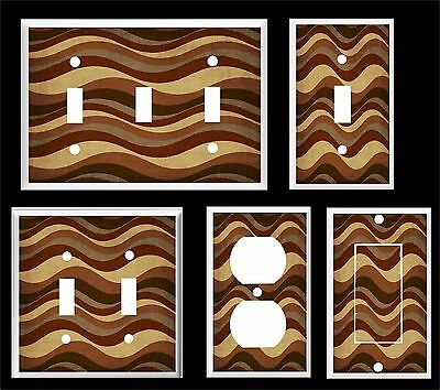 Brown Horizontal Wavy Lines  Light Switch Cover Plate       Made In Usa