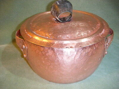 HAMMERED COPPER heavy duty COOKWARE 3 QT STOCK POT/CASSEROLE & LID 3 1/2 lbs