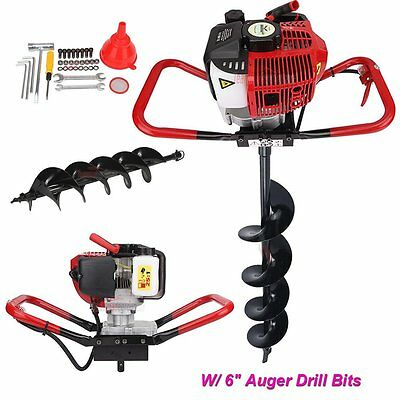 "One man 52cc 2.3HP Gas Post Planting Soil Hole Digger w/6"" Earth Auger Drill Bit"