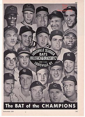 "Vintage 1960 Louisville Slugger 'Aaron, Williams, Mantle"" Baseball Bat Print Ad"