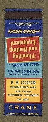 P.s.cook Plumbing Heating Cheyenne Wyoming Matchcover A154