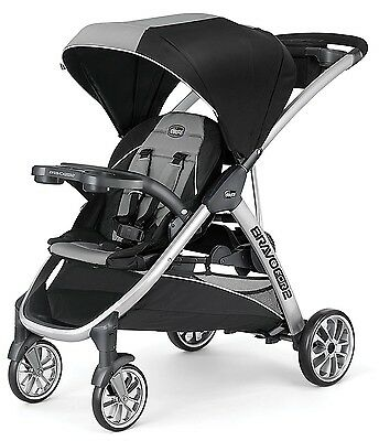 Chicco BravoFor2 2-Kids Standing Sitting Quick-Fold Baby Double Stroller Zinc